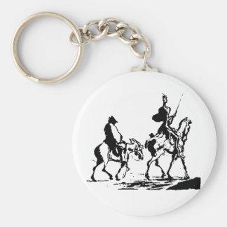 Don Quixote and Sancho Panza Basic Round Button Keychain