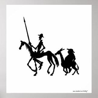 Don Quixote and Sancho Panza black and white art Poster