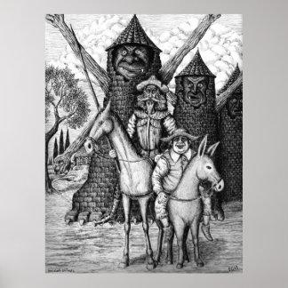 Don Quixote and Sancho Panza ink pen drawing Poster