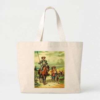 Don Quixote and Sancho Panza Large Tote Bag