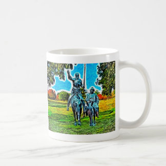 Don Quixote and Sancho Panza on horseback Coffee Mug