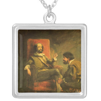 Don Quixote and Sancho Panza Silver Plated Necklace