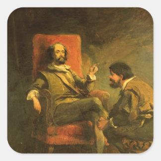 Don Quixote and Sancho Panza Square Sticker