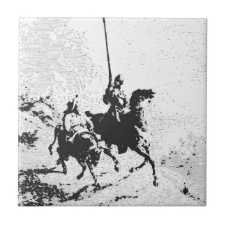 Don Quixote and Sancho Panza Small Square Tile