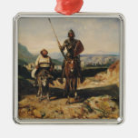 Don Quixote and Sancho Square Metal Christmas Ornament