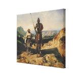 Don Quixote and Sancho Stretched Canvas Print