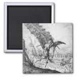 Don Quixote and the Windmills 2 Inch Square Magnet