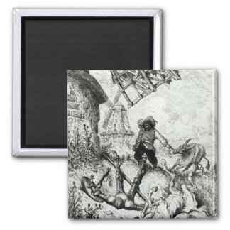 Don Quixote and the Windmills Magnet