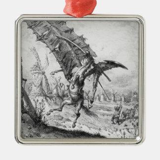 Don Quixote and the Windmills Metal Ornament