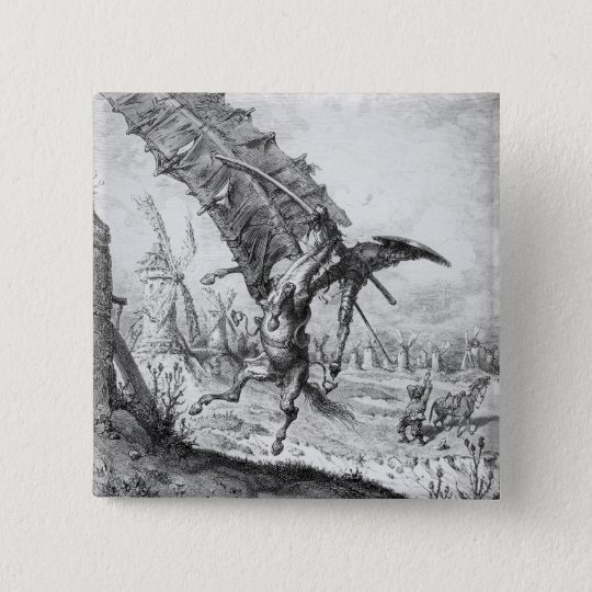 Don Quixote and the Windmills Pinback Button