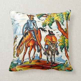 Don Quixote Cervantes Antique Majolica Pottery Art Throw Pillow
