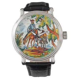 Don Quixote Cervantes Antique Vintage Majolica Art Wristwatch