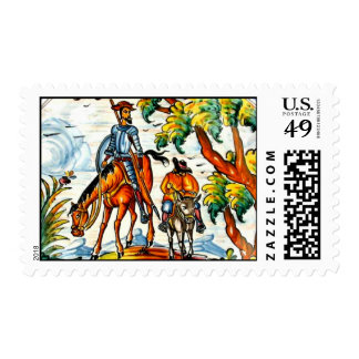 Don Quixote Cervantes Vintage Majolica Art Postage