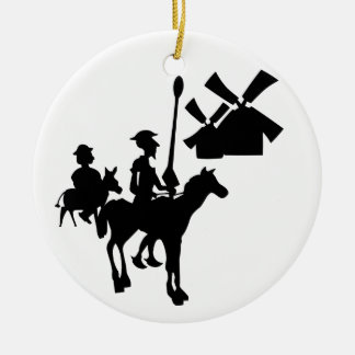 Don Quixote Double-Sided Ceramic Round Christmas Ornament