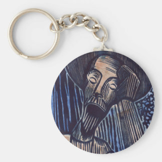 Don Quixote in Blue and Rust Basic Round Button Keychain
