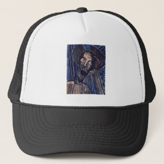 Don Quixote in Blue and Rust Trucker Hat