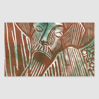 Don Quixote in Green and Brown Rectangular Sticker