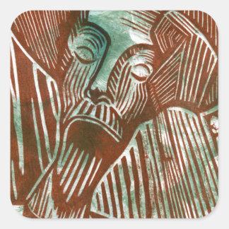 Don Quixote in Green and Brown Square Sticker