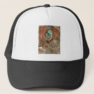 Don Quixote in Green and Brown Trucker Hat