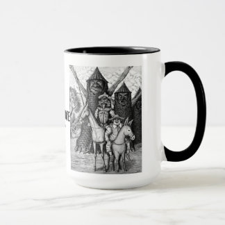 Don Quixote ink pen drawing art mug design