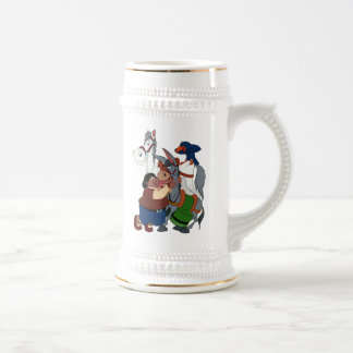 DON QUIXOTE' s FRIENDS - 400 years -Cervantes taza Beer Stein