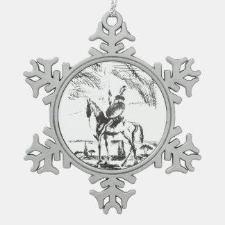 Don Quixote Snowflake Pewter Christmas Ornament