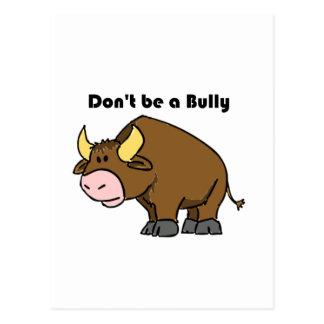 Don't Be a Bully Bull Cow Cartoon Postcard