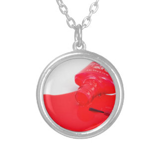 Don't Cry Over Spilt Nail Polish Round Pendant Necklace