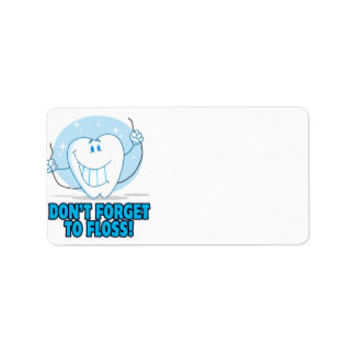 don t forget to floss flossing cartoon tooth custom address label