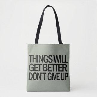 DON'T GIVE UP Tote Bag (Gray)