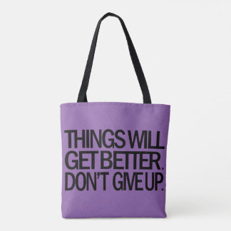 DON'T GIVE UP Tote Bag (Purple)