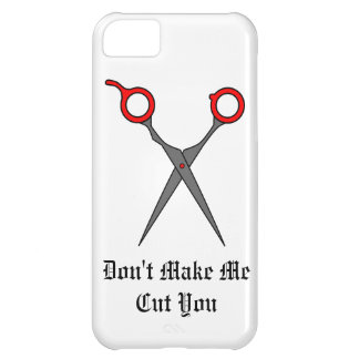 Don't Make Me Cut You (Red Hair Cutting Scissors) iPhone 5C Cases