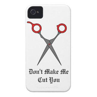 Don't Make Me Cut You (Red Hair Cutting Scissors) iPhone 4 Case-Mate Cases