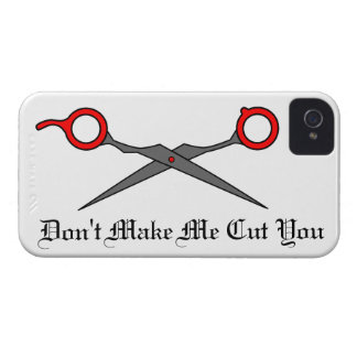 Don't Make Me Cut You (Red Hair Cutting Scissors) iPhone 4 Cover