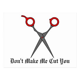 Don't Make Me Cut You (Red Hair Cutting Scissors) Post Card