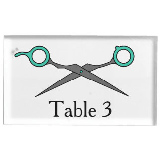Don't Make Me Cut You -Turquoise Hair Scissors Place Card Holder