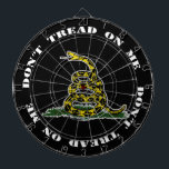 "Don't Tread On Me Dart Board (Black)<br><div class=""desc"">Play darts with family and friends with this unique Don't Tread On Me Dart Board (Black). It includes six brass darts,  three American flag and three UK flag.</div>"