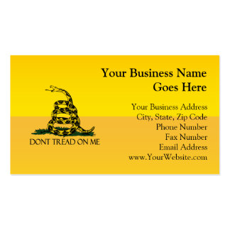 Don t Tread on Me Yellow Gadsden Flag Ensign Business Card Template
