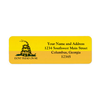 Don t Tread on Me Yellow Gadsden Flag Ensign Return Address Labels