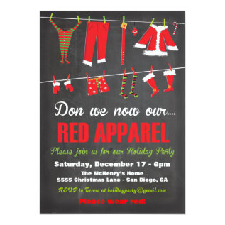 Don we now our Red apparel Christmas Invitations at Zazzle