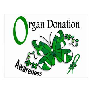 Donación de órganos de la mariposa 2 del vitral postales