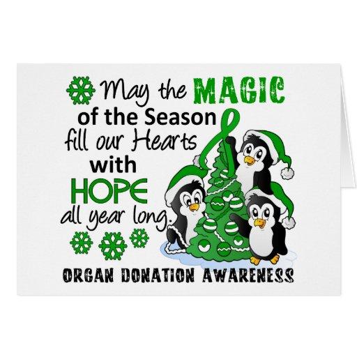 Donación de órganos de los pingüinos del navidad tarjeta de felicitación