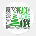 Donación de órganos del día de fiesta del navidad pegatina redonda