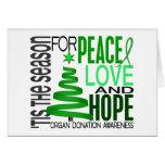 Donación de órganos del día de fiesta del navidad  tarjeta