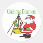 Donaciones del navidad etiqueta redonda
