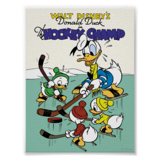 Donald Duck and Nephews Playing Hockey Poster