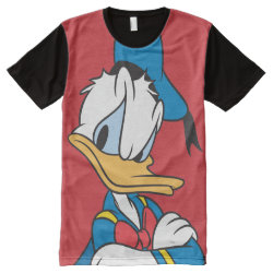 Classic Angry Donald Duck  Men's American Apparel All-Over Printed Panel T-Shirt
