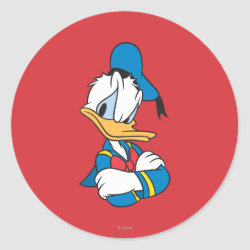 Round Sticker with Classic Angry Donald Duck  design