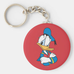 Basic Button Keychain with Classic Angry Donald Duck  design