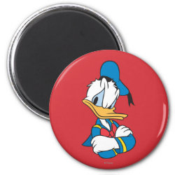 Round Magnet with Classic Angry Donald Duck  design